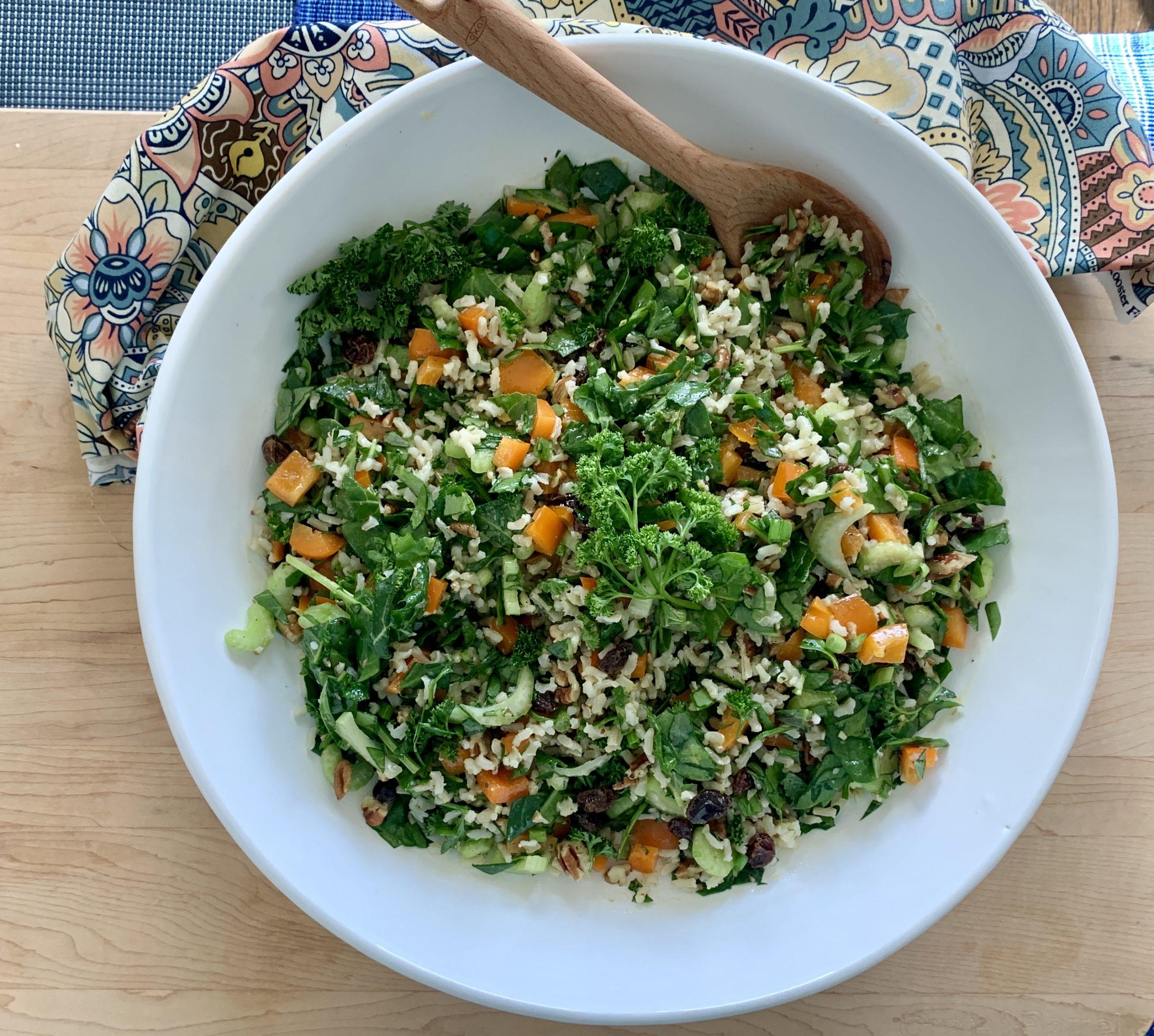 Kale Brown Rice and Veggie Salad overhead - NeuroReserve