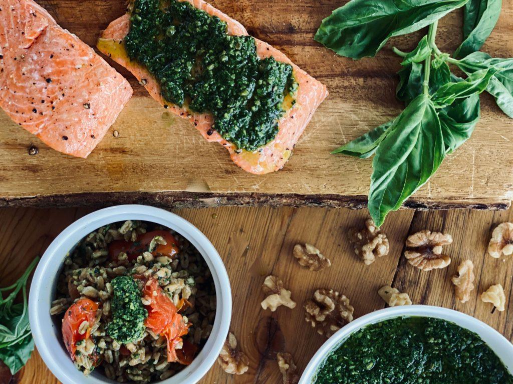 Kale Basil Pesto with Salmon and Farro Salad